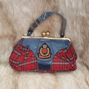 Handbags - Red Plaid Purse Royal Emblem
